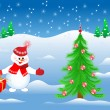 Smiling snowman with gift invites to the Christmas tree with toy — Imagen vectorial