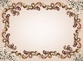 Beige frame with ornate, brown border and decor in the corners — Stock Vector