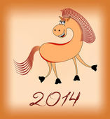 Smiling horse in 2014 on a beige background — Stockvektor