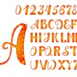 Bright orange-yellow alphabet and numbers — Stock Vector