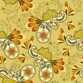 Light yellow paisley decorated curls — Vector de stock