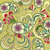 Light yellow paisley, decorated with leaves and flowers — Stock Vector