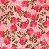 Naadloze patroon met roze rozen — Stockvector