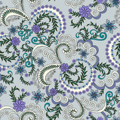 Pattern with small lilac flowers on a gray blue background — ストックベクタ
