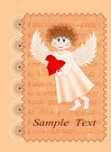 Vintage card with a smiling angel on Valentines Day — Stock Vector