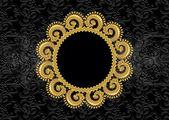 Circular golden frame with wavy border — Stock Vector