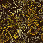 Ornate seamless, golden pattern  with bells — 图库矢量图片