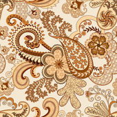Beige  brown paisley decorated openwork pattern — Stock Vector