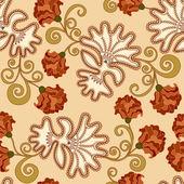 Patrón con elementos de encaje y claveles marrón — Vector de stock