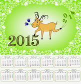 Calendar for 2015 with a goat on a green background — Stock Photo