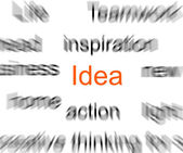 Blurred words with a focus on idea — Stock Photo