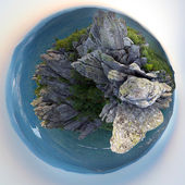 Little planet panorama of mountains — Stock Photo