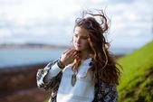 Beauty Romantic Girl Outdoors. Beautiful Teenage Model girl — Stock Photo