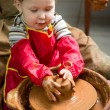 Boy potter at work in the studio. two years old — Stock Photo