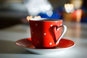 Red Mug with a heart — Stock Photo