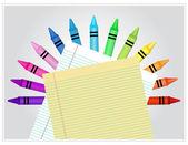 мелки позади белого и желтого линованной бумаги — Cтоковый вектор