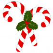 Stock Vector: Candy Canes and Holly Isolated on White