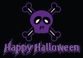 Happy Halloween skull and crossbones — Stock Vector