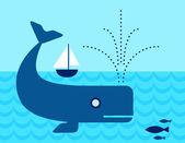 ヨットの下で泳ぐ海をクジラします。 — ストックベクタ