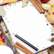 Stock Photo: Notebook for recipes and spices