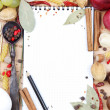 Notebook for recipes and spices — Stock Photo #13947289