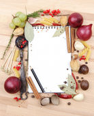 Notebook for recipes and spices — Стоковое фото