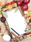 Notebook for recipes and spices — ストック写真