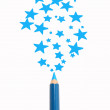 Magic pencil drawn blue stars — Stock Photo