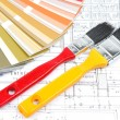 Tools and accessories for home renovation on an architectural drawing — Stock Photo