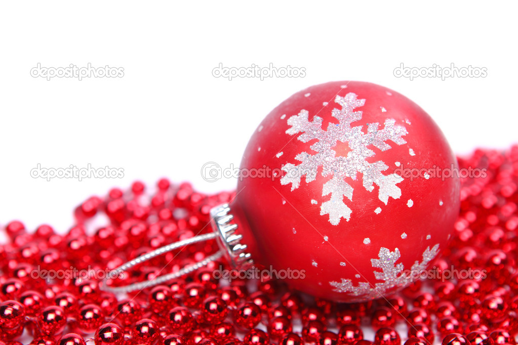 Red christmas ball isolated on white background — Stock Photo #16116627