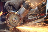 Metal sawing close up — Stockfoto