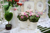 Beautiful spring flowers in a white vase — Stockfoto