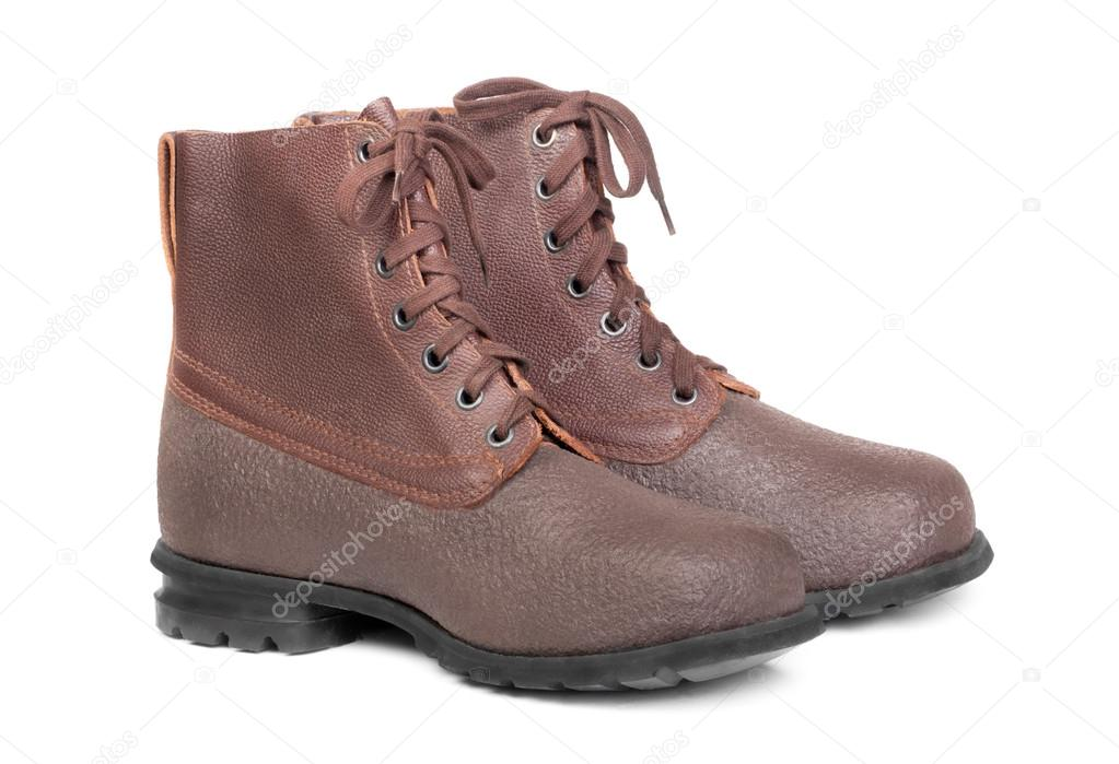 Working or military man's boots brown isolated on a white  — Stock Photo #14076839