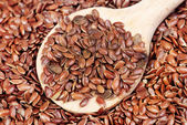 Close up of flax seeds and wooden spoon food background — Stock Photo