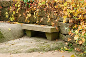 Stone Park Bench with fallen and yellow leaves background — Stock Photo