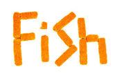 """白い背景の上棒の魚から作られた""""fish""""という単語 — ストック写真"""