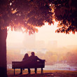 Stock Photo: Romantic Couple on Bench by River