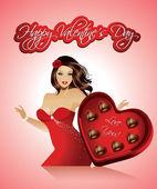 Valentine flicka — Stockvektor