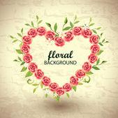 Roses Heart Frame — Stock Vector