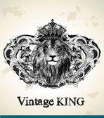 Vintage Lion King — Stock Vector