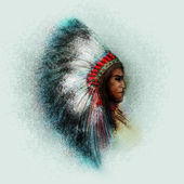 Native American Indian Chief — Stock Photo
