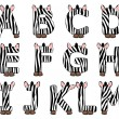 Zebra alphabet set from A to M — Stock Vector #12893291