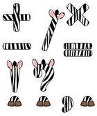 Zebra set van tekens — Stockvector