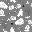 Stock Vector: Monochromatic halloween seamless pattern