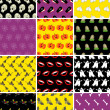 Vector de stock : Set of halloween seamless patterns