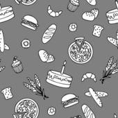 Monochromatic bakery seamless pattern — Stock Vector