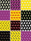 Conjunto de patrones sin fisuras de halloween — Vector de stock