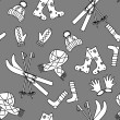 Monochromatic winter seamless pattern — Imagen vectorial