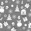 Monochromatic Christmas seamless pattern — Stock Vector #13515461