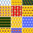 Set of Christmas seamless patterns — Vector de stock